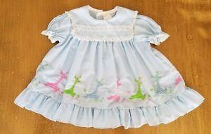 Vintage 1960s Dress Smock Blue Short Sleeve Baby Size 6M-9M Months