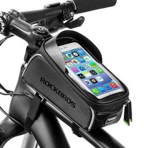 RockBros Bike Frame Bag with Phone Holder Waterproof Top Tube Bag Touch Screen