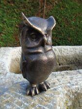 HIBOU EN FONTE PAT BRONZE , statue animalière en fonte , nouveau !