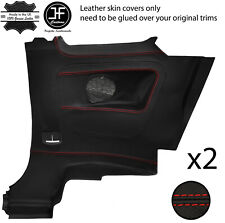 RED STITCH 2X REAR FULL DOOR CARD TRIM LEATHER COVERS FITS FIAT 500 07-15