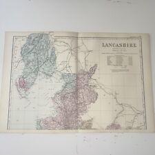 c1889 Lancashire British Isles Map Bacon Antique Vgc