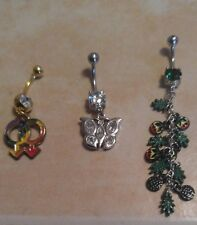 Lot of 3 Belly Button Dangle Navel Set Piercing Body Jewelry Gay Pride Peace