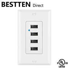 BESTTEN 4.2A/21W High-Speed USB Receptacle Outlet w/ Wall Plate UL Listed