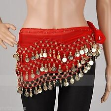 Belly dance 3rows costume skirt hip wrap outfit gold coin bead scarf dancer *Bly