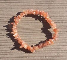 NATURAL SUNSTONE STONE GEMSTONE STRETCHY CHIP BRACELET