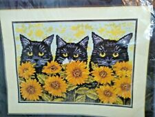 Peeping Toms Tapestry Kit Cats & Sunflowers 11.5 X 16 inches  New Open package
