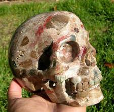 "5"" Huge Red Ocean Agate Crystal Carved Skull Skeleton"