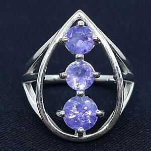 World Class 2.10ct Tanzanite & Diamond Cut White Sapphire 925 Silver Ring Size 7