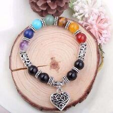 7 Chakra Healing Balance Heart Bracelets in Velvet Pouch/FREE P&P