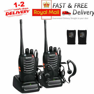 2x Baofeng Walkie Talkie Long Range 2 way Radio UHF 400-470MHZ 16CH + Earpiece