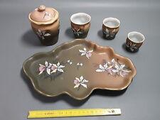 Ancien service émaillé émail porcelaine plateau sucrier émaille déco fleurs