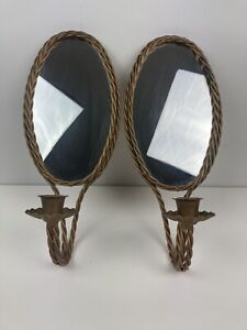 Vintage Regency Metal Mirrored Wall Hanging Sconce Candle Votive Holder Pair