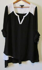 Lane Bryant Asymmetric Colorblock Tunic Black & White Size 22/24- NWOT