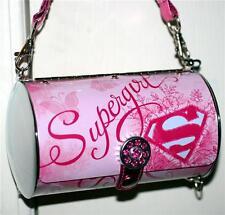 SUPERGIRL DC COMICS Superhero Cylinder Tin Tote WOMEN LADIES HANDBAG PURSE New