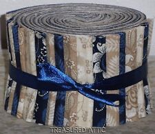 "Quilting Fabric Jelly Roll Strips 20~2.5"" Navy Blue,Cream Tan Off White Quilt"