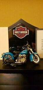 FRANKLIN MINT HARLEY DAVIDSON 1958 DUO-GLIDE (Blue) motorcycle DIECAST /24 SCALE