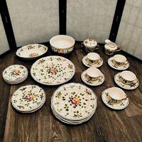 Vintage Longchamp Nemours Fine China Hand Painted Dinnerware Multicolor Flowers