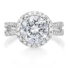 3 Carat Round Cut Diamond Solitaire Engagement Ring SI1 D White Gold 14K