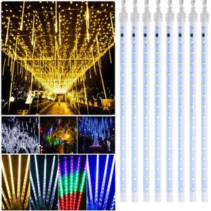 LED Icicle Tubes Rain Drop Meteor Shower Fairy Falling Lights Xmas Waterproof UK