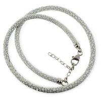 925 ECHT SILBER *** Leder Echtleder Halsband Kette Halsreif weiß-grau 41-46 cm