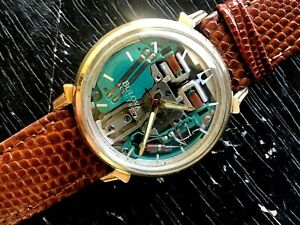 1964 BULOVA ACCUTRON SPACEVIEW 214 GOLD FILLED STEEL BACK GREEN DIAL RUNS