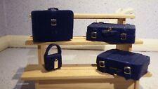 doll house items 4 x handmade leather/material travel luggage 1.12th 1