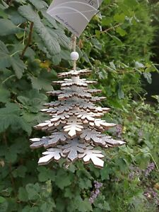 Nordic style christmas wooden silver and white glittery snowflake tree