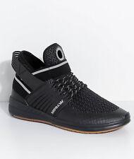 New Supra Skytop V Black, Silver & Gum Knit Skate Shoes Men's Sz 10