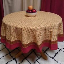 "Handmade 100% Cotton Floral Vine 60"" Round Tablecloth Gold Red"