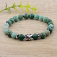 Men Women Natural Gemstone Beads Buddha Head Beaded Lava Rock Fashion Bracelets