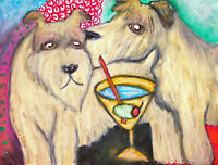 WHEATEN TERRIER Drinking a Martini Dog Collectible 8 x 10 Art Print Signed KSAMS