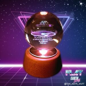 FLAT EARTH Azimuthal Equidistant Projection Map 3D Laser cut 10cm Crystal Ball