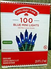Holiday Time 100 Count Blue Mini Light Set Green Wire Indoor/Outdoor NIB