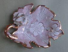 ITALIAN MAJOLICA Art Pottery LUSTER GILDED HANDLED LEAF TRAY FLOWER ANEMONES
