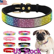 Rhinestone Bling Dog Cat Collar Soft Suede Leather Necklace for Small Medium Pet