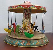 Vintage Unique Art Litho Tin Merry Go Round Kiddy Go Round Wind Up Toy