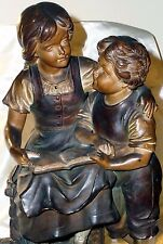 """GERMANY~RARE CLAY SCULPTURE~GIRL & BOY READING: ONCE UPON A TIME~""""ES WAR EINMAL"""""""