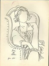 J. Cocteau signed intermediate pencil drawing on paper - 'Coco Chanel' - COA