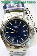 MTP-1244D-2A Blue Water Resist Day Date Casio Men's Watch Quartz Agalog Steel