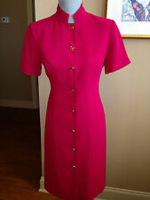 Liz Claiborne Petite Shirt Dress Size 8P Solid Pink short sleeve Polyester D2