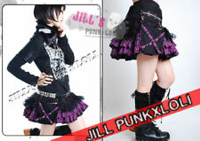 Punk Rock Goth Tiered Plaid Mesh Waist Bag Skirt FA091 purple