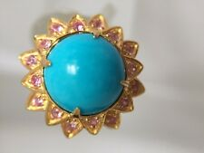 Sleeping Beauty Turquoise/ Pink sapphire silver gold plated ring Size 7