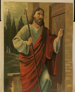 12 X 16 Vintage Paint By Number Jesus Knocking On The Door