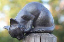 Gusseisen Katze Kantenhocker runterschauend Garten Figur Skulptur braun