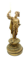 Antique cast spelter statue of bearded man with cape and sword holding a spear