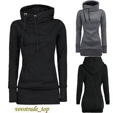 UK Women Ladies Hoody Hoodie Sweater Hooded Pullover Sweatshirt Jumper Coat Tops Grey S