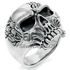 925 STERLING SILVER AAA+ CZ Ring Men Pirate One Eye Skull Biker Gothic Punk