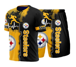 Pittsburgh Steelers Tracksuit Set Short Sleeve T shirt Shorts Sports Summer Suit