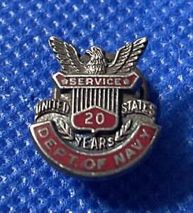 Department of Navy 20 Years Employee Service Sterling Silver .925 Lapel Pin Back