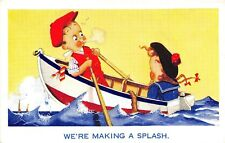 POSTCARD  COMIC  CHILDREN  Related  Rowing  Boat